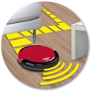 Der Saugroboter wechselt die Richtung sobald Möbelstückeke oder Wände berührt werden